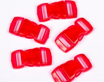 Set of 10 clips red plastic translucent 15mm