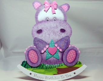 Hippo/Hippopotamus  3D Wobbler Male/Female/Kids/Children's Birthday Card - luxury quality UK - Mum/Grandma/Daughter/Aunt/Niece/Sister/Wife