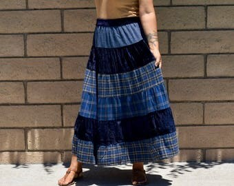 Retro Vintage Blue Plaid Cotton & Velvet Patched Tiered Maxi Skirt with Elastic Waist
