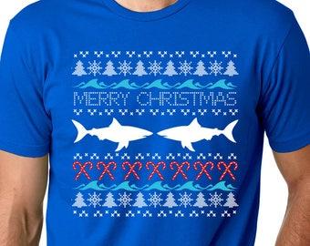 Shark Ugly T Shirt / Ugly Christmas Shirts for Women / Funny Christmas Tee / Ugly Christmas Shirt / Holiday T Shirt / Christmas Shirt
