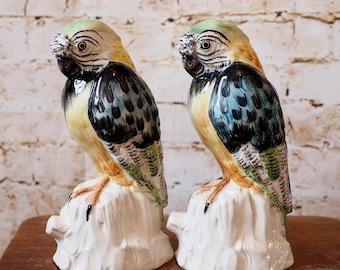 Pair of Mid Century Porcelain Parrots