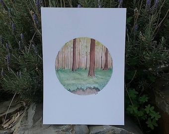 Woodlands Forest -Print A4, forest with trees, Watercolour Art, Circle Woodlands Art, Digital Print