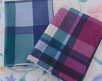 Wamsutta Standard Pillowcases / Purple, Blue, and Green Plaid / Set of 2