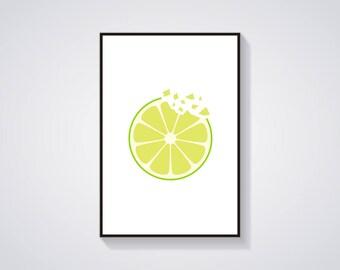 "Printable Art ""Lime Crunch"" Minimalistic Fruit Art Print"
