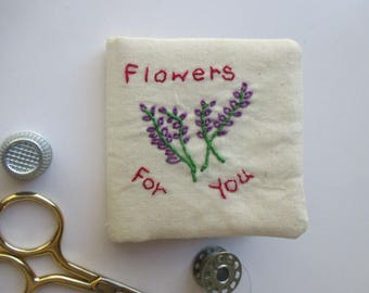 Needle Book/Purple Flower Needle Book/Flowers for You Needle Book