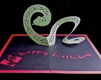 Pop-up Card Pop Up 3D Kirigami Origami Snake Chinese Horoscope Zodiac Birthday Bilingual Asian Oriental Girlfriend Boyfriend New Year Mother