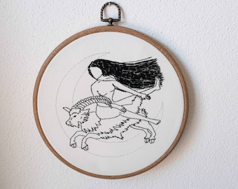 witch embroidery riding a goat to the blocksberg walpurgisnacht