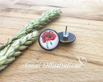 Stud Earrings with Poppy Watercolor Art
