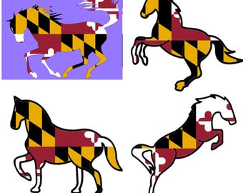 Maryland Flag Horse Decal Sticker