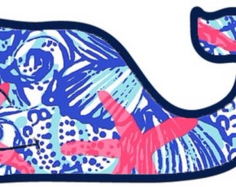 Lilly Pulitzer Whale Decal Sticker/Magnet *waterproof*