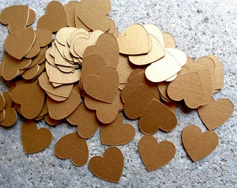 Metallic Antique Gold Hearts Table Confetti Small Shiny 3/4 inch Heart Shaped Scatter for Wedding & Bridal Shower 215 Gold Cardstock Hearts