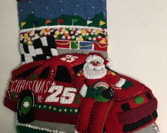 "Finished 18"" Bucilla stocking- 500 Racecar Santa totally made by hand from a vintage kit #84071 free personalization"