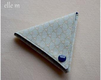 Navy triangle origami green and blue fabric purse