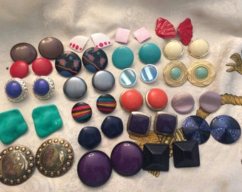 Lot of 22 Vintage Clip on Earrings Button Style