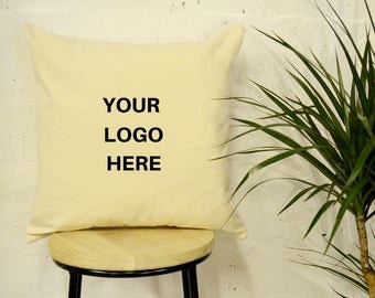 Cream Printed Logo Pillow Office Decor Business Decor Gifts Present Anniversary Custom Personalised Made to Order reception office
