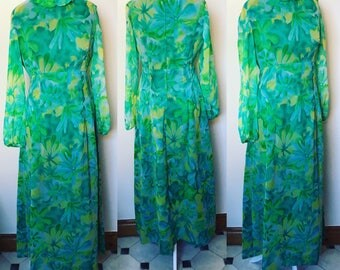 Vintage 1960s Green Floral Pront Maxi Dress - UK Size 10/US Size 6