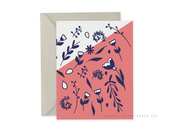 Floral Card, Pink and White Card, A2 Notecard, Blank Inside, Color Block, Floral Pattern Card, Any Occasion Card, Thank you card