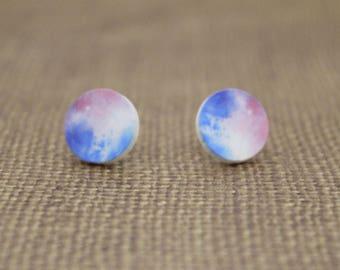 Pink, White & Blue Tie Dye Round Wood Stud Earrings