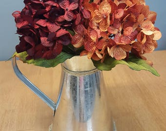 Tin Pitcher with Hydrangeas & Jute.  Farmhouse, Center Piece, Fall Decor, Rustic