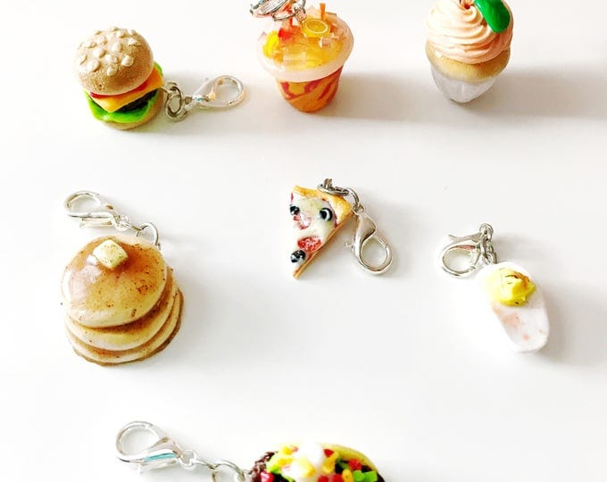Eat like a Gilmore Set, Gilmore Girls inspired, Miniature Food Jewelry, Handmade Polymer Clay Charm, Progress Keeper, Bracelet Charm