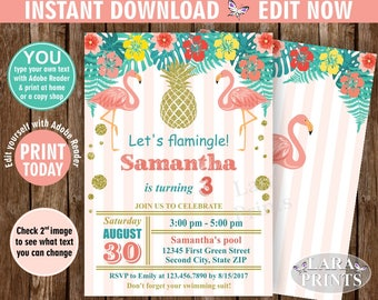 INSTANT DOWNLOAD / Birthday Invitation / Flamingo / Pineapple / Pool / Bash / invite / Luau / Hawaiian / Party Peach coral Gold Teal BDP8