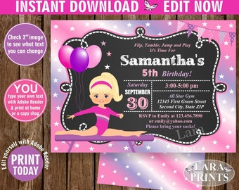 INSTANT DOWNLOAD / edit yourself now / Birthday Invitation / Gymnastics Invitation / Gymnastic Invite / Girl Pink Purple Chalkboard BDG4