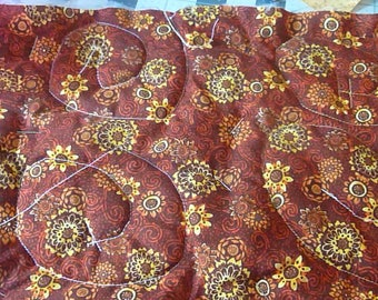 "A 9"" x 13"" hot pad, brown hot pad, large hot pad, brown and yellow hot pad"