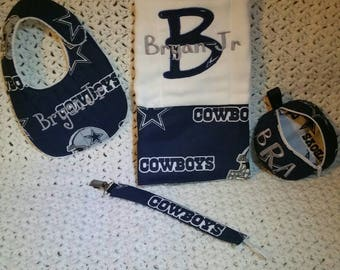 Cowboy baby gift etsy personalized dallas cowboys baby gift set bib burpcloth pacifier pod and pacifier clip negle Gallery