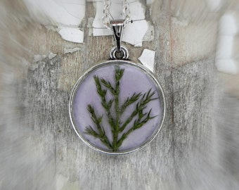 Juniper Jewelry, Daughter Necklace, Real Plant Resin Pendant, Mom Gift, Double Sided Personalized Pendant, Nature Inspired Terrarium Jewelry