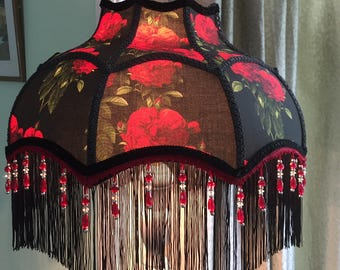 A Victorian - Downton  - lampshade - red roses,  fringe, beaded, beaded lampshade, Downton Abbey lampshade, Black and red, victorian lamp
