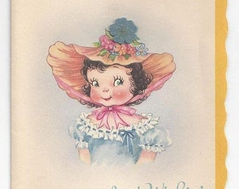 "On Sale 1940s Adorable Vintage Birthday Card ""Just Wishing You-"""