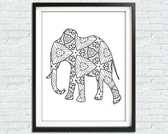Elephant Print, Elephant Wall Art, Tribal Elephant Art India, African Elephant Art, Animal Print, African Print, Abstract Elephant Art