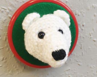 Fauxdermy crochet polar bear head.