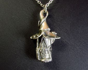 Handmade silver magical witch cottage
