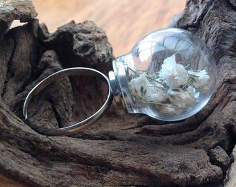 Whimsical Gypsophila Glass Globe Ring