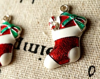 Christmas stocking charms 3 vintage style jewellery supplies