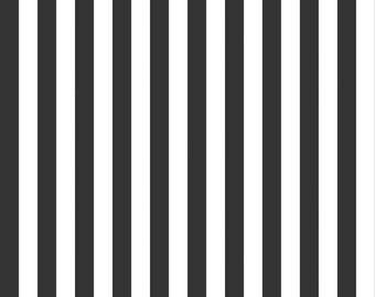 "LAST 15""  Black and White Stripe Fabric - Riley Blake Designs 1/2"" Stripe -  Black and White Stripe - Half Inch Stripe Fabric"
