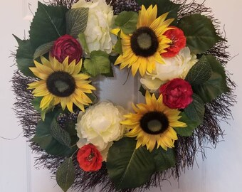 Summer wreath/ spring wreath/ sunflower wreath/ front door wreath/ door wreath