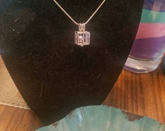 Open Cube pendant with real freshwater pearl inside grade AAA