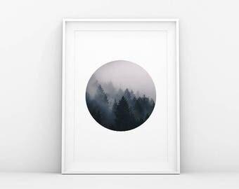 Misty Tree Tops - Foggy Wonderland - Circle - Landscape Poster - Forest Wall Art - Printable Art - Scandinavian Print - Danish Art Print