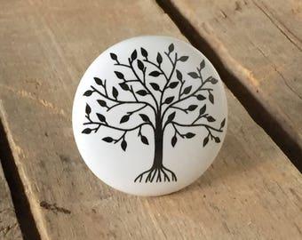 Tree of Life Drawer Knob, Farmhouse-Style Drawer Pull, Decorative Ceramic Knob, Farmhouse Decor