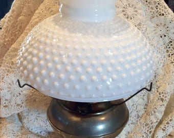 Antique Rayo Hurricane Oil Lamp with Hobnail Shade