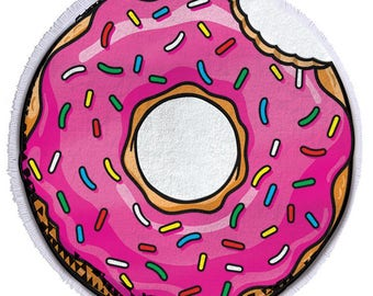 Donut with sprinkles round terry cloth Beach Towel
