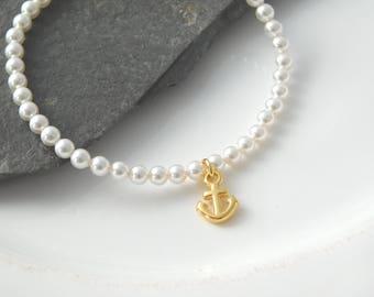 Pearl bracelet white gold anchor