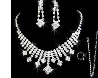Rhinestone jewelry set, bridal jewelry, rhinestone necklace, wedding jewelry