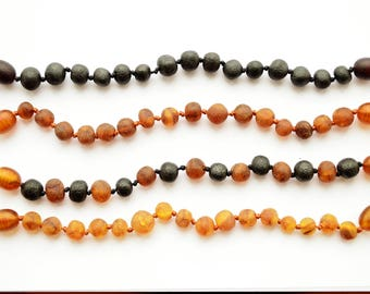 100% Baltic Amber baby Teething Bracelet Anklet Adult Knotted unpolished Baroque Beads Amber Girl Boy Gift Choose size and color