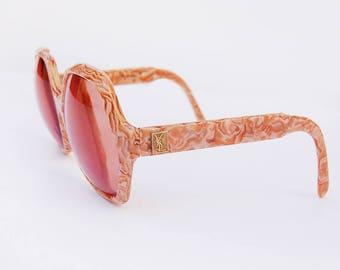 Vintage Sunglasses YSL Rose Colored Lenses Peach Marbled Sunnies | 1970's rare oversized glasses Yves Saint Laurent 70's