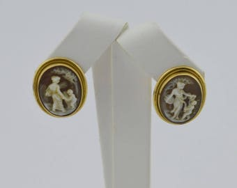 18k Yellow Gold Vintage Cameo Clip On Earrings(02571)