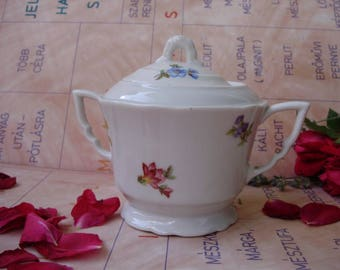 Vintage Hungarian Zsolnay porcelain  sugar bowl,flower pattern,stamped
