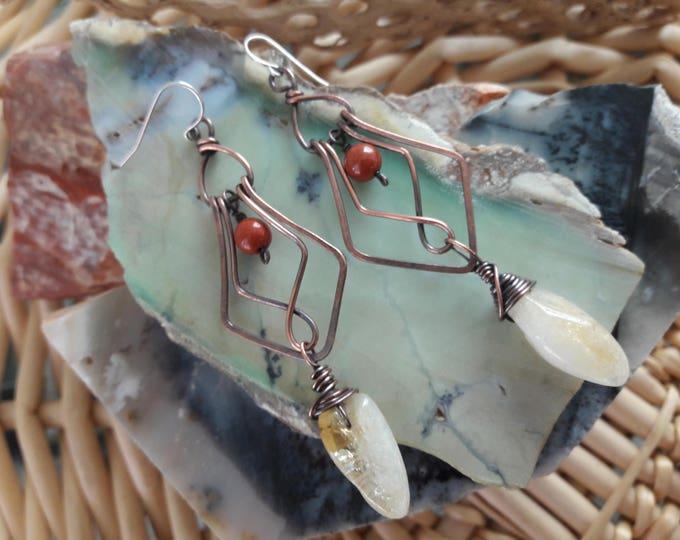 Citrine Red Jasper copper wire Art Deco inspired chandelier earrings